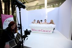 Also in the lounge, a photo booth from NBC's Will & Grace revival allowed guests to pose in a bathtub...