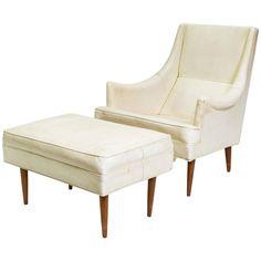 Milo Baughman Chair and Ottoman, Signed | 1stdibs.com