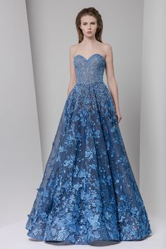Tony Ward Fall Winter 2016/17: Blue stunner with floral appliques.