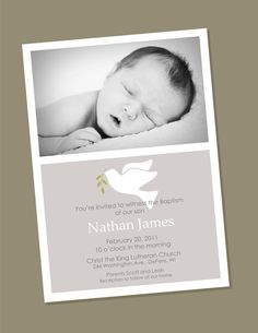 Dove Dove Custom Photo Baptism Invitation by winksanddaisies on Etsy Baptism Invitation For Boys, Christening Invitations, Baptism Favors, Baptism Party, Baby Party, Baptism Ideas, Baby Showers, Baby Dedication, Baby Girl Christening