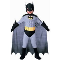 Our deluxe child Batman outfit with muscle chest is a cool way to dress up for Halloween. We also carry black face paint for that to black out the eyes for this outfit. - Batman suit with muscle chest