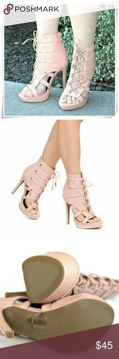 """Leslay sandal heels booties. SD Scene line booties. Peep toe, lace up, cutouts - a lot going on with these shoes.  Details: heel 5"""", platform 1"""", fits TTS.  Please use only ✔OFFER  button for all price negotiations. I'll do a price drop⤵ for you for discounted shipping, if we agree about the price. Shoe Dazzle Shoes Ankle Boots & Booties"""