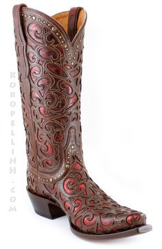 Jaw-Dropping western glamour by Lucchese Boots.  The Sierra Boot in Metallic Red (M4840)
