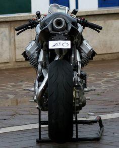 The perfect symmetry of a Moto Guzzi.