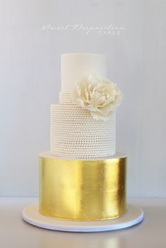 Gold leaf and beaded wedding cake. Follow us @SIGNATUREBRIDE on Twitter and on FACEBOOK @ SIGNATURE BRIDE MAGAZINE