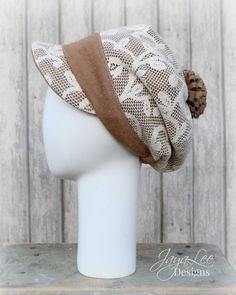 Rustic Lace Slouchy Beanie Newsboy Hat by Jaya Lee.  This adorable, soft and comfortable slouchy beanie cap is perfect for fall/winter. The hat