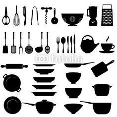 For Quiet Books: Kitchen utensil icon set