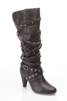 Strappy Studded Heeled Boots