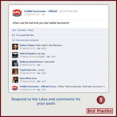 #DailyTip Participate in the conversations on your Page like Vadilal Ice Creams does
