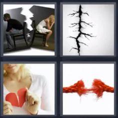 4 fotos 1 palabra corazon roto pareja separada -  pulsa sobre la imagen para ver la solución