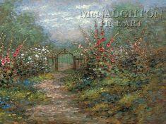 Garden Gate by Jon McNaughton old gate, nostalgia, hollyhocks, garden of flowers, beautiful Jon Mcnaughton, Old Gates, My Favourite Subject, Landscape Paintings, Landscapes, Hollyhock, Latter Day Saints, Garden Gates, All Art