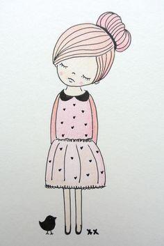 girls room illustration | kinderkamer illustratie | kids room http://www.kinderkamervintage.nl
