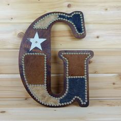 Cowhide Wall Letter G Monogram Wall Decor Western by LizzyandMe