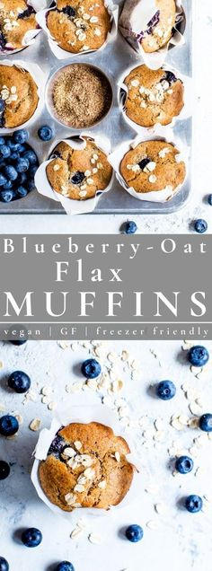 These grab-n-go, healthy blueberry muffins are perfect for those crazy mornings or for a mid afternoon snack. Naturally sweetened vegan and gluten free Blueberry-Oat Flax Muffins are simple to pull together and are freezer friendly too! #muffins #blueberrymuffins #oatflaxmuffins #vegan | vanillaandbean.com @vanillaandbean