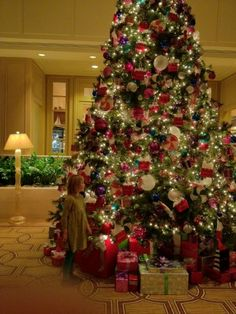 Christmas tree decorated by American Girl Place in the lobby of Ritz-Carlton Chicago