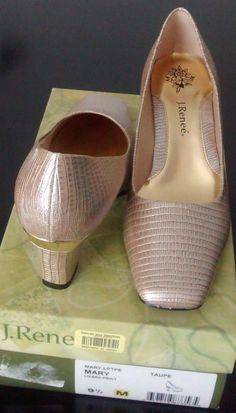 $72 NEW Women 's J. Renee Mary Lizard print Taupe 2.5 Dress heel shoes size 9.5 M   eBay