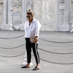 jogging pants & white oversized blouse