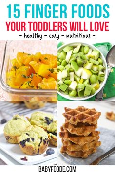 These 15 Healthy Finger Foods for Toddlers will make feeding your active toddler a snap! Delicious and easy to make, these recipes will help you feed your toddler nutritious meals and snacks all day long. Toddler Finger Foods, Healthy Finger Foods, Baby Food Recipes, Snack Recipes, Snacks, Kid Meals, Toddler Lunches, Baby Foods, Kid Friendly Meals