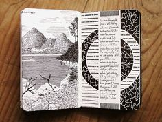 Moleskine by Rebecca Blair. Tightly structured page nicely contrasted with free-form doodles Artist Journal, Art Journal Pages, Art Journals, Journal Notebook, Sketch Journal, Arte Sketchbook, Sketchbook Pages, Fashion Sketchbook, Sketchbook Ideas