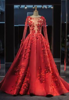 New Long Sleeve ball gowns robe de bal longue Illusion Hand Made Tulle Back Tail Prom Dresses