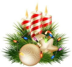 Christmas Candle Decorative PNG Clipart Image