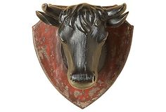 Weathered Cow Head Plaque on OneKingsLane.com  My man needs this for his bar room I think.....