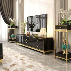 Modern Black TV Stand with Drawers & Doors Gold Media Console for TVs up to 75 Inches Luxury Dining Room, Luxury Living, Glam Living Room, Living Room Decor, Home Room Design, Living Room Designs, Black And Gold Living Room, Tv Stand With Drawers, Tv Stand Decor