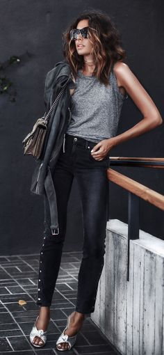 #summer #outfits Grey Tank + Black Skinny Jeans + White Bow Pumps