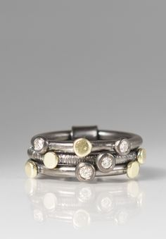 Maria Frantzi 18K, Silver, Diamond 3 Band Ring