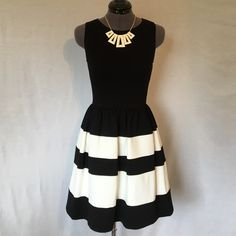 Bar III Striped Fit and Flare Dress (NWT) NWT! So Cute!! Black and white stretchy ponte knit. Invisible back zipper, bust darts, and gathered flare skirt. 67% rayon, 28% nylon, 5% spandex. Size Small, TTS. Bust measured flat across is 14 inches, back of neck to hem is 32 inches. NWT, Never Worn, in Perfect Condition. Bar III Dresses
