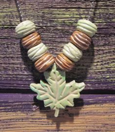 Green and Brown Leaf Polymer Clay Fun Necklace by blessen on Etsy, $20.00 BarbLessenSunnyDesignsJewelry