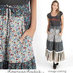 Vintage 70s Gunne Sax Skirt Calico Floral Boho Hippie Lace Festival Dress Maxi M | eBay