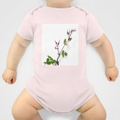 Near the house Onesie by Pia Schneider [atelier COLOUR-VISION] - $20.00 #art #nature #europe #weeds #flower #cute #white #green #rose #purple #photorealism #baby #babyclothing #onesies #parents #children
