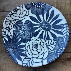 Round floral handcrafted  ceramic platter