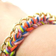 Braided Rainbow Colored Chain Linked Bracelet | DOTOLY