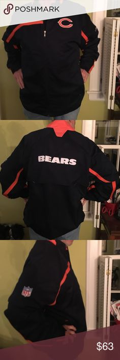 "NWOT NFL Team Apparel Chicago Bears Zip Up Jacket BRAND new NFL team apparel ""on field Reebok"" Chicago Bears windbreaker. Size 2X but fits XL on up. It has 2 outside pockets and zips up the front and it's lined with mesh and nylon. Perfect gift for the BEARS fan (even though we're not so great this year :-/ ) in your life! :) NFL Team Apparel Jackets & Coats Windbreakers"