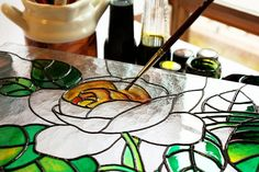 Here's a fresh idea. Make mosaics using large stained-glass pieces as if making a stained-glass window, instead of Stained Glass Paint, Making Stained Glass, Stained Glass Crafts, Stained Glass Patterns, Stained Glass Windows, Mosaic Glass, Glass Art, Painting On Glass Windows, Glass Painting Materials