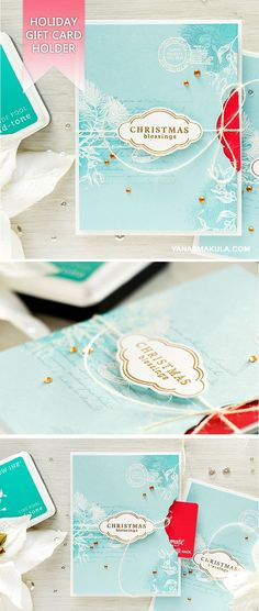 Create a hidden gift card holder in your next Christmas project! For details and video tutorial, please visit https://blog.heroarts.com/video-holiday-card-with-a-hidden-gift-card-pocket/