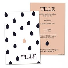 Tille Birth Announcement Girl, Announcement Cards, Baby Vans, Thanks Card, Kids Branding, Baby Born, Name Cards, New Kids, Diy Cards