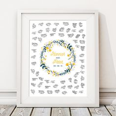 This beautiful unframed 'FLORAL RING' wedding guest book print makes the perfect unusual alternative to the traditional guest book and is… Boho Wedding, Floral Wedding, Wedding Decor, Happy To Meet You, Personalised Prints, Wedding Guest Book Alternatives, Guestbook, Unique Weddings, New Baby Products