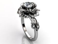 Platinum diamond unusual unique floral engagement ring, bridal ring, wedding ring by Jewelice, $1869.99