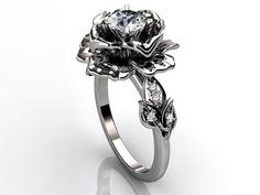 14k white gold diamond unusual unique floral engagement ring, bridal ring, wedding ring ER-1032-1