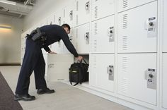 Ventilated gear lockers meet secure storage at the Skokie Police Department north of Chicago Illinois. Officers keep their belongings in their individual law enforcement gear storage lockers after their shift is complete.   Spacesaver Corporation