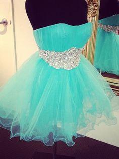 Beautiful Turqoise Beaded Ball Gown Scoop Neckline Mini Homecoming Dress