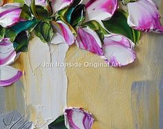 White Tulip on teal painting  oil painting original