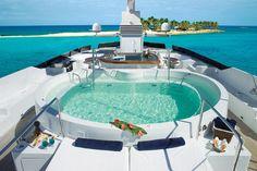 Yacht ISLANDER - Sundeck Spa Pool, image of FAM by Paola Smith & Associates, Bold Craft Engineering Corp. Kirillof & Associates, and Australian Yacht Builders. Jacuzzi, Luxury Yacht Interior, Yacht Builders, Yacht Broker, Yacht Boat, Yacht Design, Catamaran, Dream Vacations, Vacation Spots