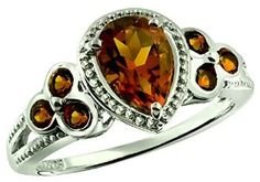 1.45 Carats Madeira Citrine Silver Ring available at joyfulcrown.com