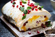 Lemon curd and pomegranate rolled pavlova – Recipes – Bite