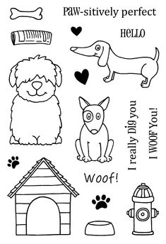 Your cards will look doggone cute when you use the Jane's Doodles A Dog's Life Stamp by SRM Press. This set is made in the USA and includes 17 acrylic stamps, Doodle Drawings, Animal Drawings, Easy Drawings, Doodle Art, Tier Doodles, Silly Images, Tampons Transparents, Animal Doodles, Stamp Making