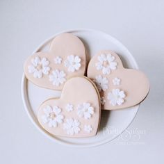 Blush heart lace cookies wedding favours